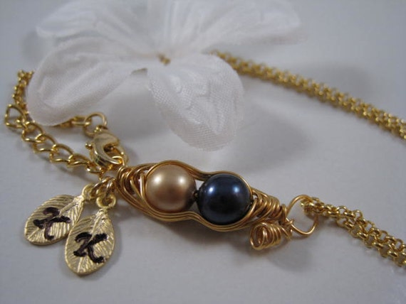 Something pink, Two peas in a pod, Gold bracelet, Friendship bracelet, Expectant mom, Wedding gift,Valentine gift