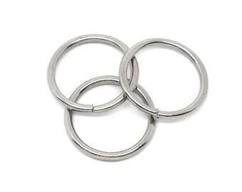 100 BULK Silver Tone Open Jump Rings 12mm x 1.5mm, 15 gauge wire  jum0046b