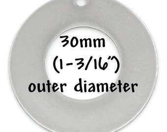 5 Stainless Steel Metal Stamping Blanks Charms, 30mm DONUT WASHER shape, punched hole . 21 gauge   MSB0003