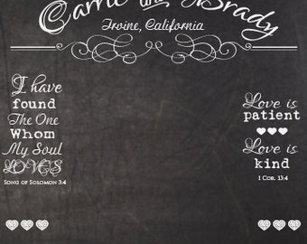 PERSONALIZED PHOTOBOOTH Backdrop 6x8 Vintage Chalkboard For WEDDING Birthday Or Other Event
