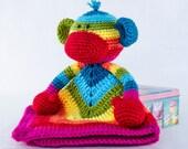 Rainbow Sock Monkey Lovey / Security Blanket - PDF Crochet Pattern - Instant Download - Blankie Baby Blanket
