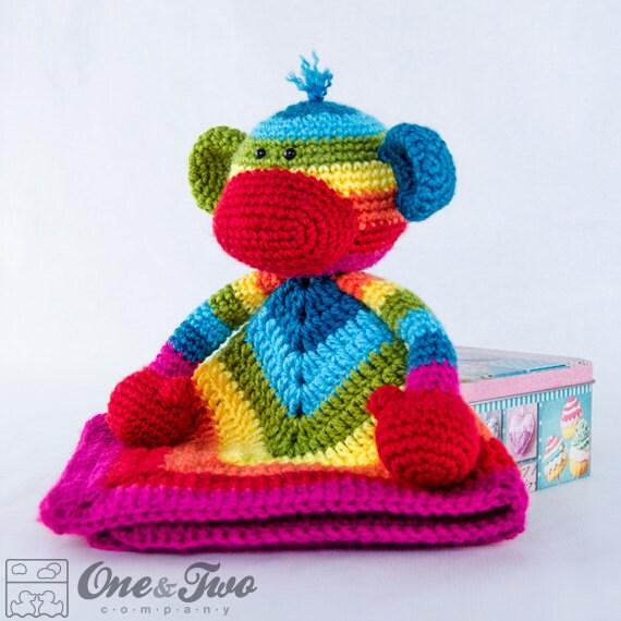 Rainbow Sock Monkey Lovey / Security Blanket PDF Crochet