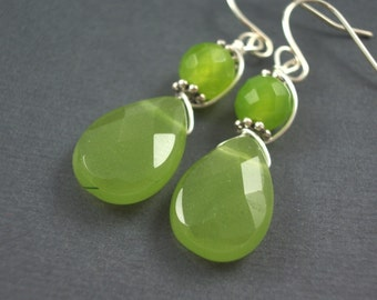 Kiwi green earrings  chalcedony teardrop bridesmaid wedding  dangle earrings