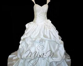 A-Line Princess Pin Tuck Wedding Dress Beaded Straps  (made to order MKG26)