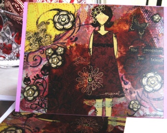 Recognize Her Talent, Girl Art Card, Greeting Card, Handmade Card, Mixed Media Card, Woman Empowerment, Blank Inside, Personal Message