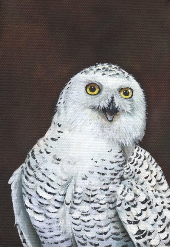 Items similar to Snowy Owl painting Print of acrylic ...