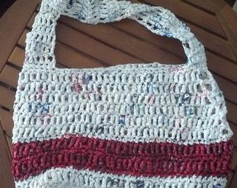 Crochet Plarn Purse Single Red Stripe - Repurposed Plastic - Side Attaching Strap - Lined