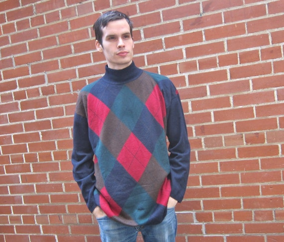 Argyle cashmere sweater, L
