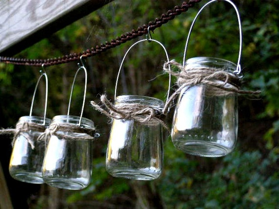 four rustic mini jar lantern candle hanging vase outdoor. Black Bedroom Furniture Sets. Home Design Ideas