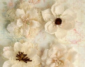 "Ivory Burlap Flowers -Set of 4 fabric flowers 2"" Ivory blossoms 1200-200 headband flowers  rustic flowers wedding decorations scrapbooking"
