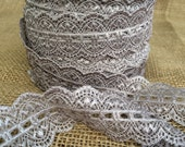 "Lace Elastic 1.5"" inch Silver Gray Lace Stretch Elastic trim baby headband grey lace elastic wedding garter lingerie lace - 3, 5 or 10 yards"