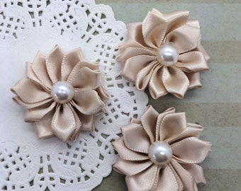 "6 Small Champagne  Fabric Flowers Sweetheart 1.5"" Satin ribbon flowers with pearl centers accent applique flowers embellishment headband"