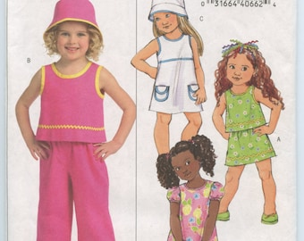 Butterick 4781 Girls Top, Dress, Skirt, Pants and Hat Sewing Pattern  Size 2, 3, 4, 5 UNCUT