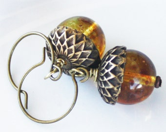 Amber Acorn Earrings - Amber Earrings - Your choice of Antiqued Brass or Silver Plated Findings