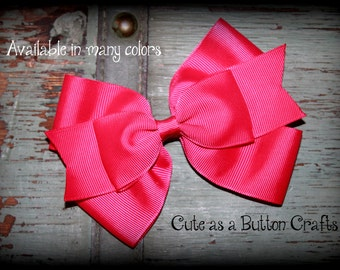 LARGE Hot pink Hair Bow, hot pink Hair Clip, hot pink Stacked Hair Bow, hot pink Boutique Hair Bow,  Hair Bow, back to school Hairbow