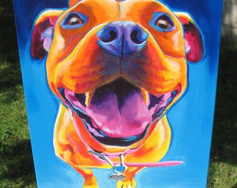 Pit Bull, Pet Portrait, DawgArt, Dog Art, Pit Bull Art, Original Painting, Pet Portrait Art, Colorful Dog Art, Pit Bull Painting