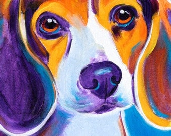 Beagle, Pet Portrait, DawgArt, Dog Art, Pet Portrait Artist, Colorful Pet Portrait, Beagle Art, Pet Portrait Painting, Art Prints