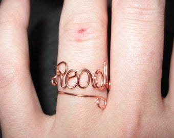 Wire Wrapped READ Spelled Adjustable Ring MADE to ORDER