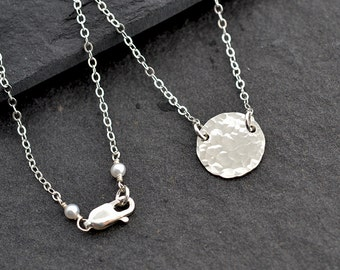 Hammered Sterling Silver Necklace, Round Necklace, Dainty, Bridesmaid Gift, Silver necklace, Hand Hammered Necklace, Pendent Necklace