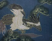Eagle in Japanese style, dark blueish-gray, 1/2 yard, pure cotton fabric