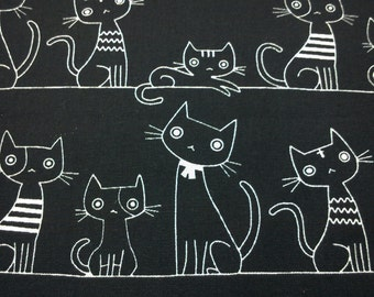 Cats, black, 1/2 yard, pure cotton fabric