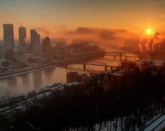 Pittsburgh Sunrise Photograph, Winter Morning, Bridges, Orange, View From Mount Washington, Sun, Art Print, River, Pittsburgh Skyline, City
