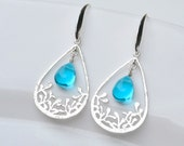 Filigree earrings Aqua Blue Drop earrings Valentine Gift for wife hoop earring Blue Dangle Earring blue Bridesmaid earring set of 3 4 5 6 7