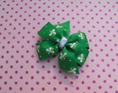 St. Patrick's Day Clover Small Pinwheel Bow