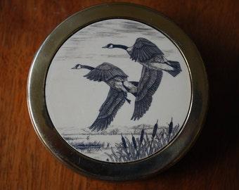 Vintage Scrimshaw Duck Brass Paper Weight  - Woodland - Nature Inspired