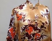 PARADISE HAWAII 60s Satin Tunic/Jacket/Psychedelic Floral Pattern/Tiki/Luau/Rockabilly/Brown/Orange/Frog closures/Pockets/Costume Party - M