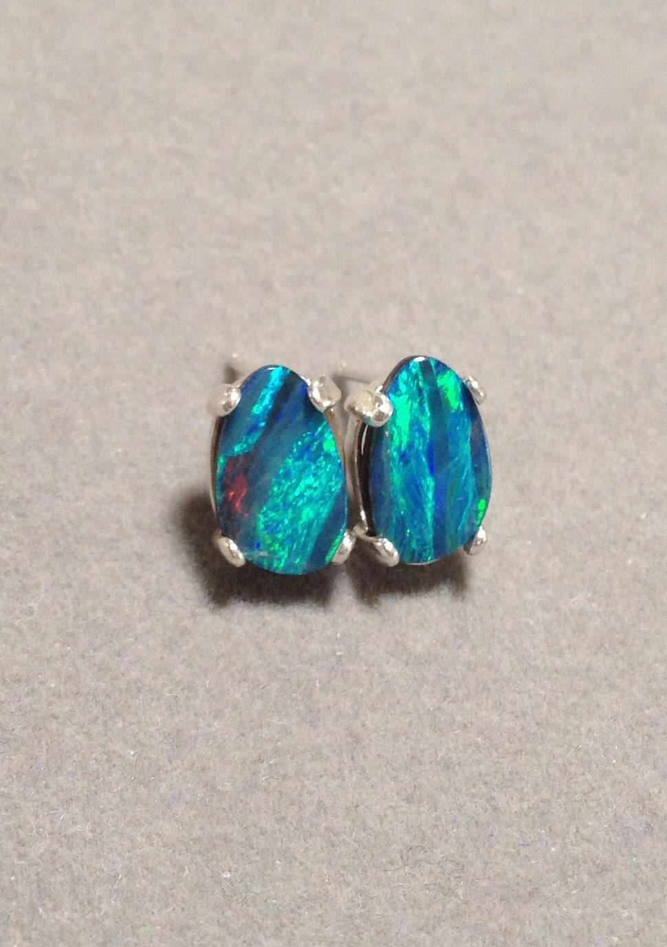 australian black opal earrings genuine australian opal