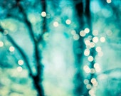 """Abstract Photography, bokeh light picture teal blue aqua turquoise mint green sparkle wall print trees circles, 8x10 Photograph, """"Twinkle"""""""
