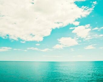 "Ocean Photography - turquoise teal sea horizon seascape landscape beach print aqua blue wall art white - 11x14, 8x10 Photograph, ""Utopia"""