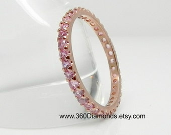 Pink sapphire eternity ring, berry blush sapphire ring, rose gold ring, stacking ring, engagement ring,  D315P