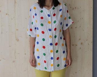 Vintage 90's  Polka Dot Print Shirt Blouse Top Tshirt