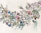 Floral Art , Print of Original Watercolors ink Painting, Floral Painting, Flowers Art Print