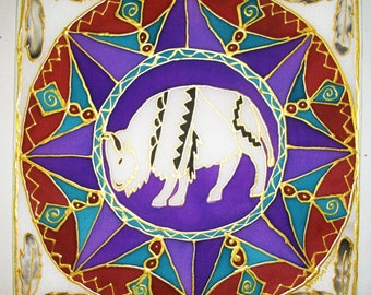 White Buffalo Mandala, spiritual gift, animal guide, Mandala art, spiritual art, shamanic art, buffalo art, meditation, silk art, pagan