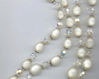 Fantastic Marvella necklace -- two strands of winter white moonglow lucite and crystal AB