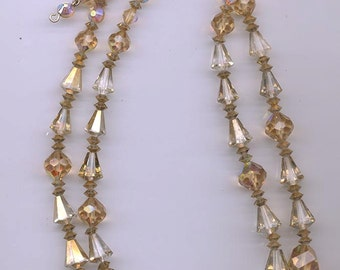 Beautiful 2-strand vintage Vendome necklace - Swarovski gold-flashed crystals and light colorado topaz crystals