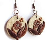 Hidden Nature S23, autumn earrings in light gold and copper, a polymer clay creation with leaves, spirals and flower