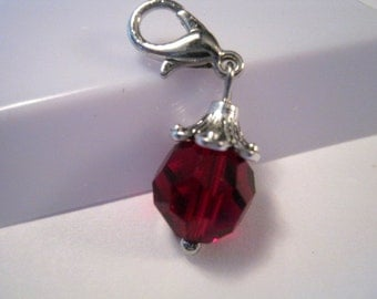 Silver Tone January Garnet Glass Faceted Chip on Charm