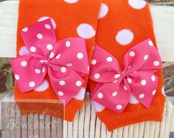 Pumpkin Leg Warmers -- Bow Leg Warmers -- orange, hot pink and white polka dots for baby girls
