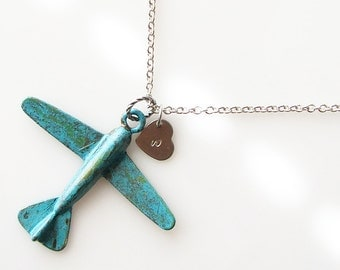 long rustic plane necklace, pilot gift, personalized travel gift, long necklace, patina aeroplane jewelry air plane, rustic  necklace