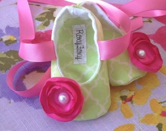 Green and Pink Baby Ballerina Shoes