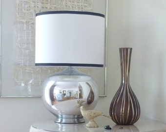 Small White Linen Drum Lamp Shade with Navy Trim