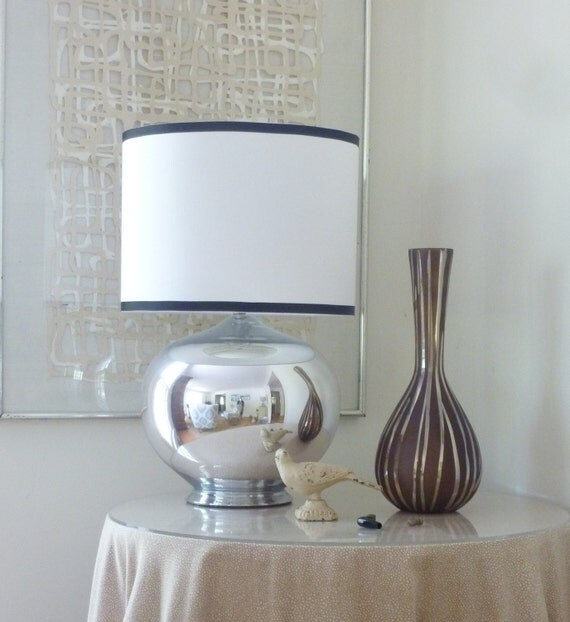 small white linen drum lamp shade with navy by lampshadedesigns. Black Bedroom Furniture Sets. Home Design Ideas