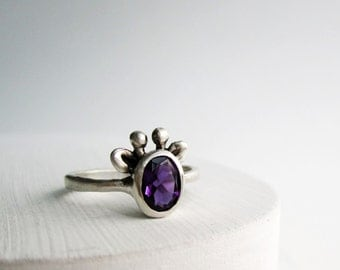 Purple Giraffe Ring, Amethyst and Sterling Silver, MADE TO ORDER