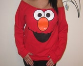 Womens Custom Altered Scoop Slouchy Tunic Elmo Fleece Sweater Pullover Sweatshirt - Sizes S M L XL
