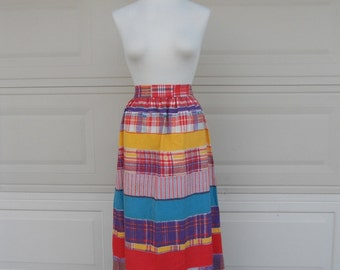 SALE Vintage 70s Maxi Skirt . Striped High Waist Cotton . Hippie Long Tie Back