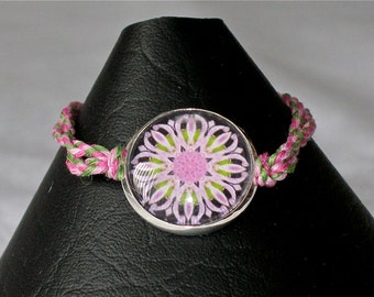 Bracelet with glass dome and cotton cord band, Original Kaleidoscope Design, Lavender Bee Balm Series